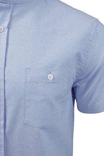 Herren Hemd mit Grossvater Kragen von Brave Soul 'Tribune', kurzärmlig Hellblau