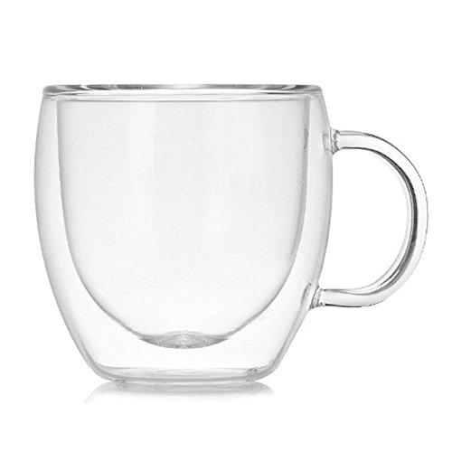 Glas Kaffeetassen doppelwandig Thermobecher für Espresso, Latte, Cappuccino, Teebeutel, Getränke, Thermoglaswaren