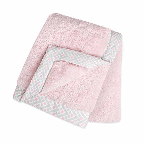 Just Born 413703L - Mantita de peluche con frontera, color rosa