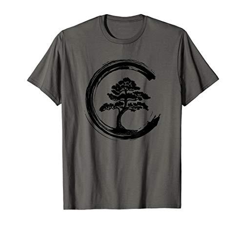 Bonsai Tree Enso Circle Calligraphy Art for Meditation T-Shirt