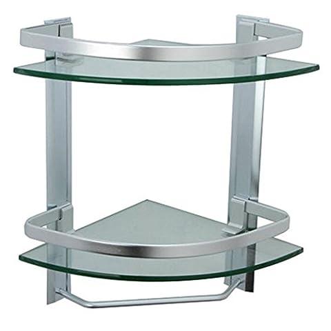 Homeself épais en verre trempé Aluminium Fixé au mur étagère de salle de bain Rack de cuisine étagère de rangement, Aluminium, Triangular 2-Tier