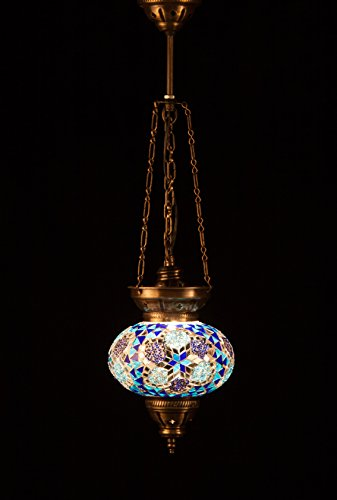 Handmade Turkish Lamp Moroccan Ottoman Style Mosaic Oval Mosaic Hanging Lamp Triple Chain Lights Home Bedroom Restaurant Cafe Decoration Light Blue Flower Size 3