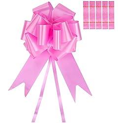 6 Piezas de Lazos de Tirar Grandes Cinta de Lazos de Hilo de Tirar para Boda Coche Decoración Embalaje de Regalo, 5 cm de Ancho (Rosa)