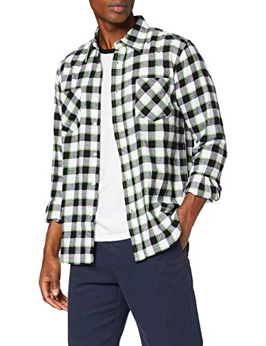 Urban Classics - Chemise Casual - Coupe Droite - Col Chemise Italien - Manches Longues Homme - Vert - L