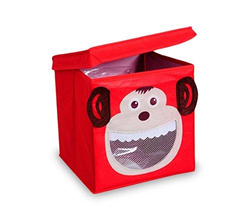 783103 Caja guarda juguetes cuadrada con tapa 27 x 28 cm MONO - BUS - Monito