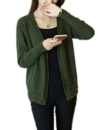 SANKU Femmes Casual Longue Manche Longue Gilet Tricot Chandail Cardigans Pull Sweaters Manteau Coat Bonnetterie Veste Outwear Cape Hiver Armée verte