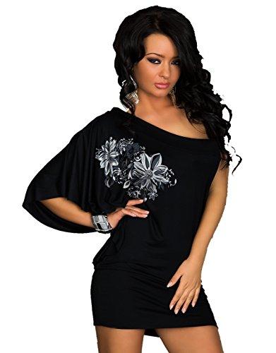 Flower Mini vestito Sexy da discoteca-Cartamodello per tuniche da donna, taglia unica, 8, 10, 12, 14, taglia: 36, 38, 40, 42 nero Taglia unica