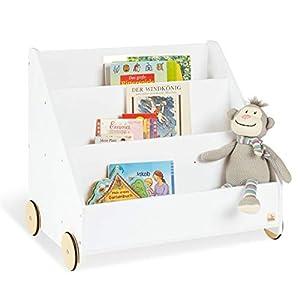 Pinolino 183405 Kinder-Bücherregal mit Rollen 'Lasse', weiß
