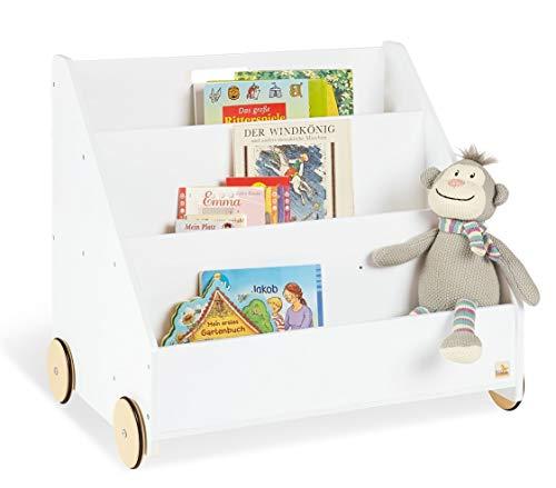 Pinolino Kinder-Bücherregal mit Rollen Lasse, aus Holz, 3 Fächer, 1 Geheimfach, gummierte Holzräder, für Kinder ab 3 Jahren, weiß - Für Weiß Kinder Bücherregal