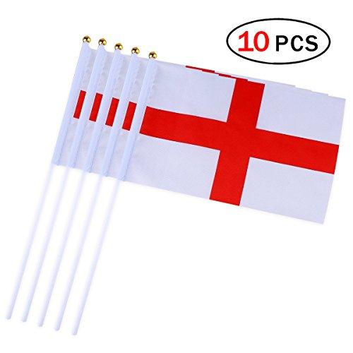 Ndier England Stick Flag 14 x 21cm kleine Hand Flagge Mini England Flagge 10 Stück
