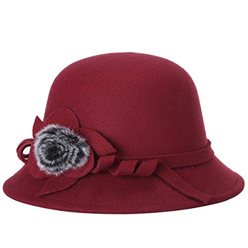 Butterme Frauen Damen Vintage Wool Round Bowler Hat Fedora Derby Hüte Vintage Cloche Hüte Bucket Cap Hut Weinrot (Krempe Kirche Hat)