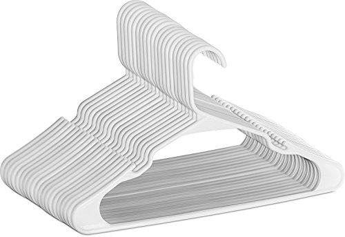 Perchas de plástico - Paquete de 50 - Durable y delgado - de Utopia Home (Blanco)