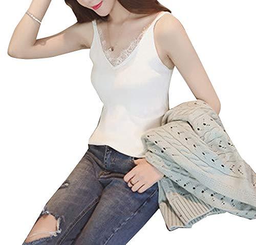 Damen Unterhemd mit Spitzenbesatz Trägertop Spaghetti Top Leibchen Basic Elastisch Gerippte Cami Camisole Weiß - Weiße Spitzenbesatz Leibchen