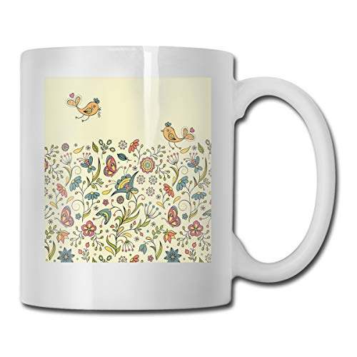 Jolly2T Funny Ceramic Novelty Coffee Mug 11oz,Flourishing Spring Meadow Ornate Artistic Nature Romantic Birds Butterflies Leaves,Unisex Who Tea Mugs Coffee Cups,Suitable for Office and Home Butterfly Meadow Box
