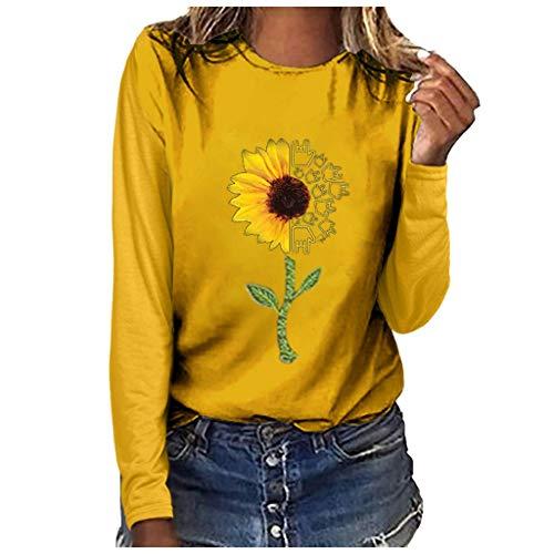 Andouy Damen Modisch Brief Gedruckt Pullover Pulli Oversized Leicht Lange Ärmel Rundhals Sweatshirts Oberteile Bluse(2XL.Gelb-2) -