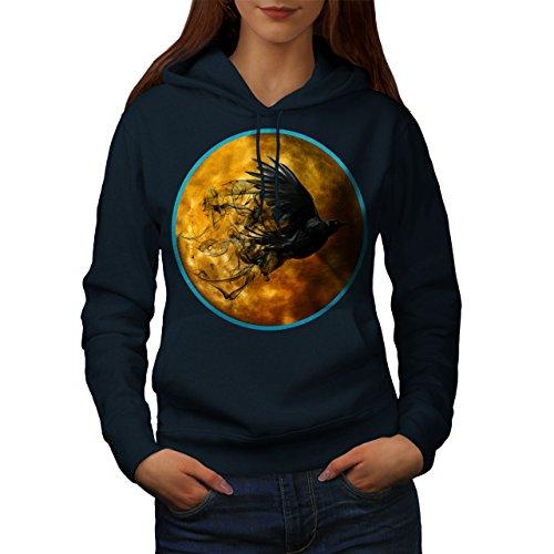 Corbeau Cosmos Lune Espace Femme S-2XL Sweat à capuche | Wellcoda Bleu