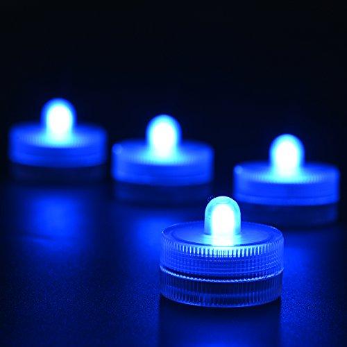(Packung mit 10) Unterwasser-LED-Licht 100{b5db4474ee18345924af1445acf9499f7af3dbbfb5bf0c5ddfabecee66692bea} wasserdichtes LED-Teelicht Kitosun 3cm CR2032 Batteriebetriebene Kerze für Hochzeitsparty-Events Home Herzstück Home Blumenvasen Laternen Fisch Tank Pool Teich Dekoration Beleuchtung (Blau) [Energieklasse A+++]