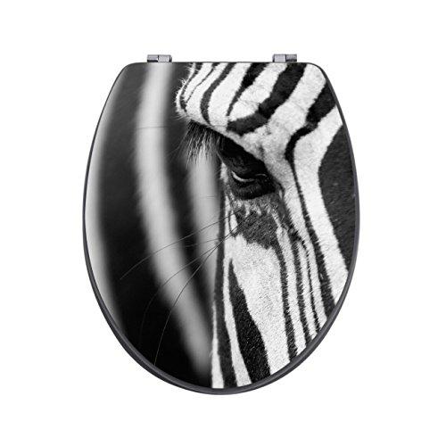 banjado Design Toilettensitz in Anthrazit | WC-Sitz Holz MDF 42,3×3,5×37,5cm | Klodeckel mit Edelstahl Scharnieren | Toilettendeckel mit Motiv Zebra En Face
