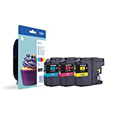 Brother LC-123C/LC-123M/LC-123Y Inkjet Cartridges, Cyan/Magenta/Yellow, Multi-Pack, Standard Yield, Includes 3 x Inkjet Cartridges, Brother Genuine Supplies
