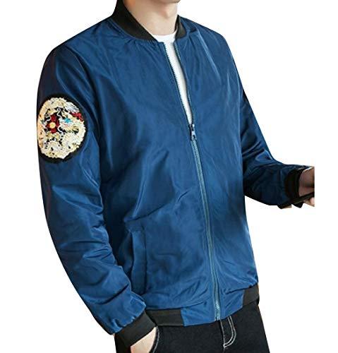 Banded Collar Jacket (CuteRose Men's Oversized Dragon Print Banded Collar Bomber Jacket Blue S)