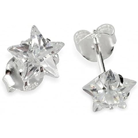 ASS{925} argento Donna Bambini Orecchini a forma di stella con zirconi 6 mm con zirconi a forma di stella