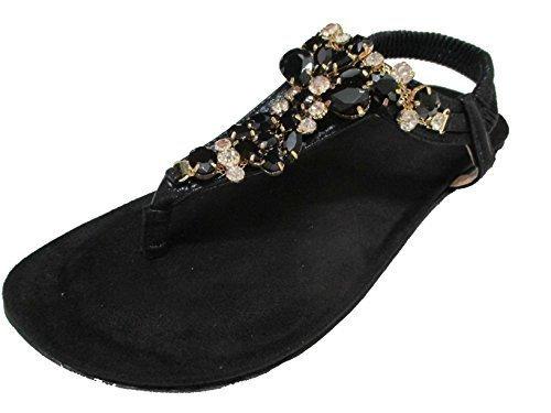 (OOG Damen Zehentrenner Sandale Strass Glitzer Hippie Offener Sommer Schuhe Schwarz 38)