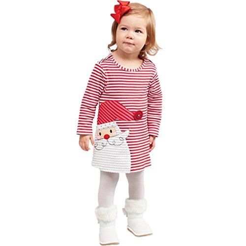 Weihnachtskleid Baby Mädchen Santa Striped Prinzessin Outfits Kleidung Kinderkleider Festliche Langarm T-shirt Kleid 80 86 92 98 104 Test