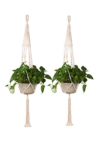 Appendi piante in macramè, set di 2 cestelli pensili per fiori da interno o esterno, realizzato a mano in cotone, corda sospesa alla parete, decorazione per la casa, 35 pollici