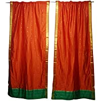 Mogul Interior Orange Sari Curtains Rod Pockets Boho Pair Home Decor Drapes 96x44