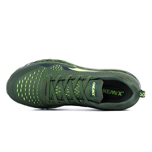 Onemix Air Uomo Mesh Scarpe da Ginnastica Basse Sportive Running Sneakers Fitness Interior Nero Bianco Verde Blue Verde