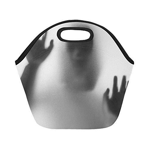 Isolierte Neopren-Lunchpaket Horror Woman Behind Matte Glass Black Große wiederverwendbare thermische dicke Lunch-Tragetaschen für Brotdosen für den Außenbereich, Arbeit, Büro, Schule