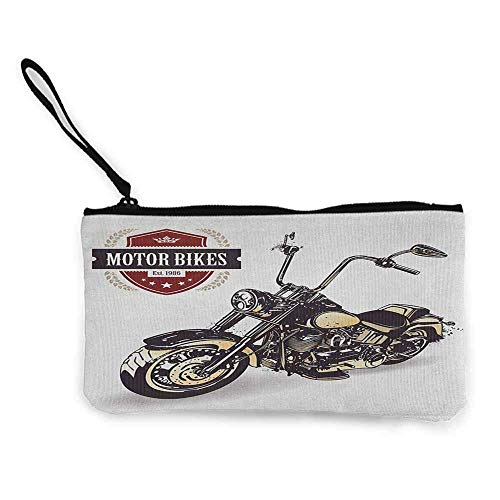 "TTmom Damen Leinwand Geldbörse Portemonnaie Geldbeutel,Motorcycle Chopper Customized Motorcycle with Club Insignia Motor Bikes Hippie Classic Wallet Coin Purses Clutch W 8.5"" x L 4.5\"" Black Beige"