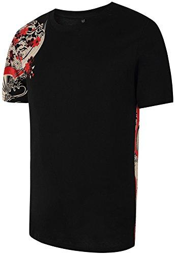 Pizoff Herren T-Shirt Japanisches Muster WaruRa Oraora System Koi Souvenir Stickerei Karpfen Kletter Muster Straße Tops Sommerkleidung (Koi Blumen-prints)