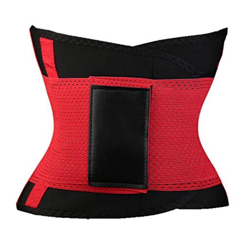 obiqngwi Mode Sport Taille Trimmer Fitness Frauen Training Gürtel Gummiband Schlank Body Shaper - Rot XL -