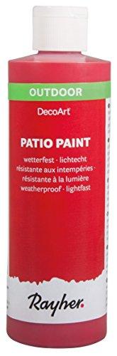 Rayher 38611286 Patio Paint, kirschrot, Flasche 236 ml, wetterfeste Acrylfarbe für den Außenbereich, lichtecht, Farbe für innen und außen, Outdoor-Farbe (Outdoor-acryl-farben)