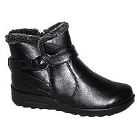 Cushion Walk Winter Warm Lined Ankle Boots Womens Padded UK 4-8 (UK 6 / EU 39, Skye Black)