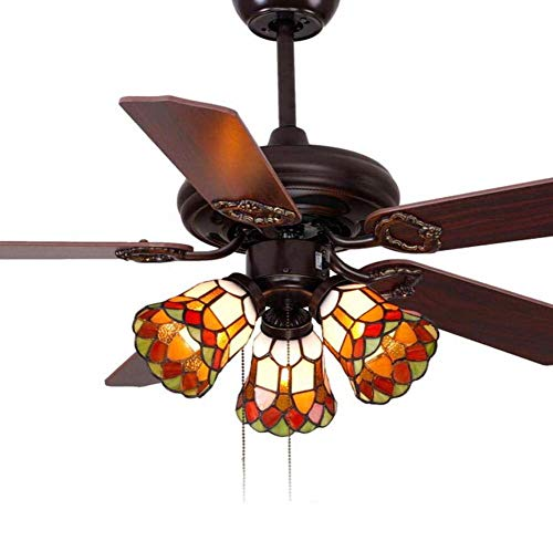 42-Zoll-Deckenventilator Tiffany Stil Glasmalerei Schatten Deckenventilator Licht Retro Fernbedienung Holz Leaf Wohnzimmer Schlafzimmer Pendelleuchte Deckenleuchte (Design : Pull wire-A)