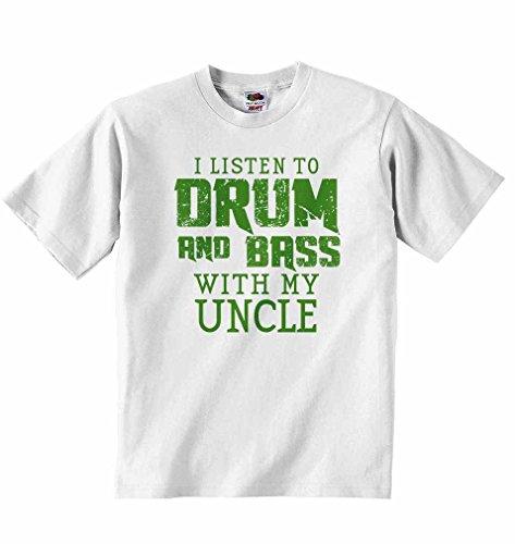 Ich höre Drum & Bass mit My Uncle–Jungen Mädchen T-Shirt personalisierbar Tees Unisex Tshirt Kleidung für Musikliebhaber–Weiß weiß weiß 2 - 3 Jahre (Sleeve Tee Baby-jungen-short)