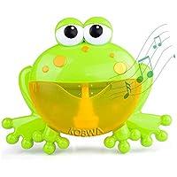 KOBWA Automático Maquina Burbujas Máquina de Soplado de Burbujas,Juguetes del Baño Rana de Burbuja con 12 Música Infantil para Niños Pequeños, Ideales Burbuja de Baño Juguetes para Niños