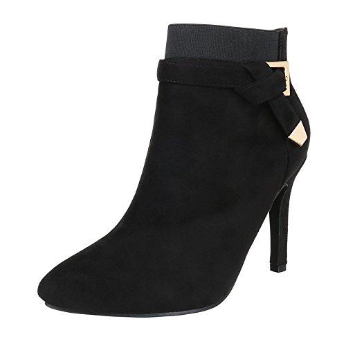 High Heel Stiefeletten Damen Schuhe Schlupfstiefel Pfennig-/Stilettoabsatz High Heels Reißverschluss Ital-Design Stiefeletten Schwarz