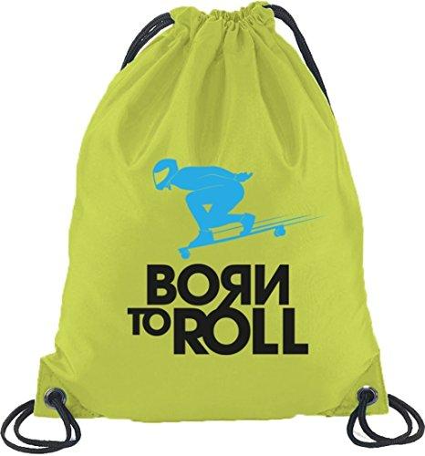 Longboard - Born To Roll, Skateboard Turnbeutel Rucksack Sport Beutel Limone