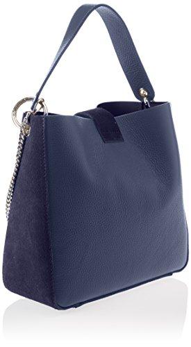 Chicca Borse Damen 8880 Schultertasche, 28x25x11 cm Blau (Blue)