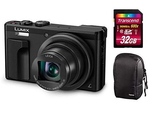 Panasonic Lumix DMC-TZ81-EG-K schwarz Digitalkamera Set + Tasche + 32 GB Speicherkarte Travellerzoom Kamera (18,1 Megapixel, Leica Objektiv mit 30x Opt. Zoom, 4K Foto und Video, Sucher) (schwarz) Panasonic Digital Super Hybrid
