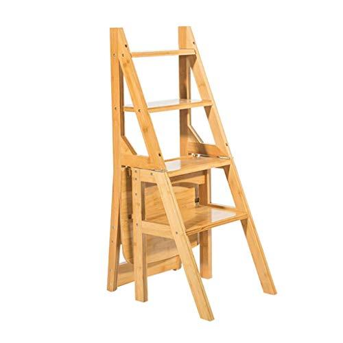 Oudan Küchenholzleitern Leiternförmiger Pflanzenständer Holzklappbarer 4-Stufen-Hocker for die Küche Wohnzimmer Schlafzimmer Garten (Farbe : B, Größe : EINHEITSGRÖSSE)