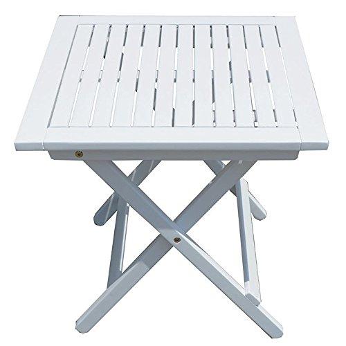 nxtbuy Tisch Gilbert aus Holz in weiß mit praktischem Klappmechanismus Stabiler Outdoor Klapptisch witterungsbeständig mit quadratischer, lackierter Oberfläche -