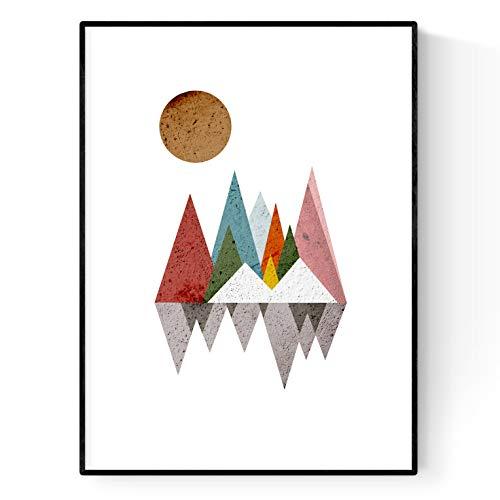 Nacnic Lámina para enmarcar Reflejo DE MONTAÑAS Estilo nordico Regalos creativos de la Naturaleza. Laminas para enmarcar o Regalar. Papel 250 Gramos