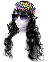 Hippie Outfit Hippie-Kostüm 70er Jahre Perücke Karneval Flower Power Peace Brille Stirnband Bandana Hippie-Verkleidung Alsino KV-83