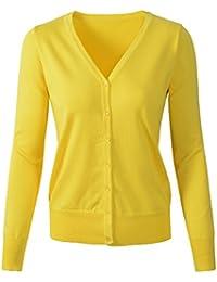 e05f159082f6e5 Womens V Neck Button Down Long Sleeve Basic Soft Knit Cardigan Sweater