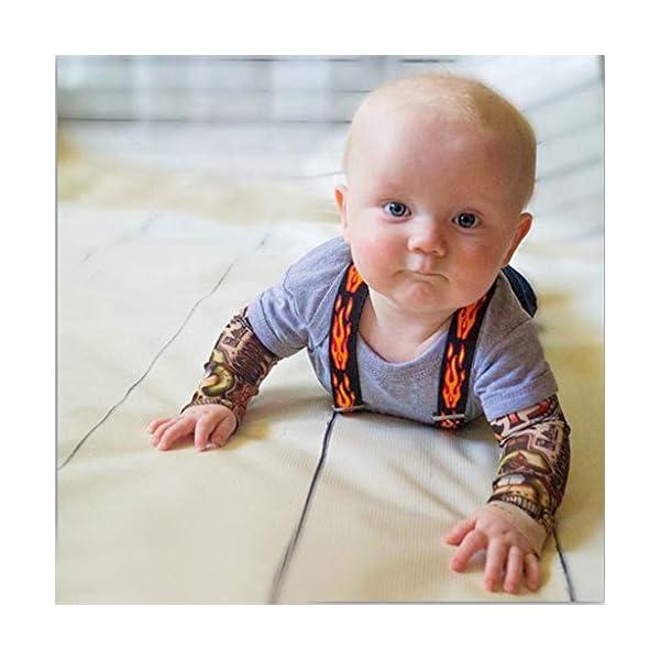 MYONA Mono de Bebé Manga Larga, Traje para Bebé Recién Nacido con Impresión del Tatuaje Bebé Mono Mameluco Bodies Bebé… 3
