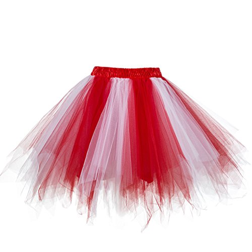 intage Petticoat Party Dance Tutu Rock Ballkleid Rot-weiß 2XL (Plus Size Tüll Rock)